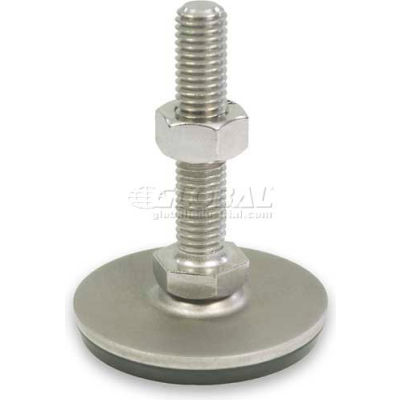 "Leveling Foot W/Plastic Cap, 1/2-13 x 5.91"" Stud, 2.36"" Base Dia, 6.52""H, 2250 Lbs. Cap, 304 SS"