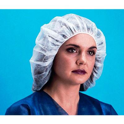 """Lightweight Polypropylene Bouffant Cap, 100% Latex Free, Blue, 19"""", 100/Bag, 10 Bags/Case"""