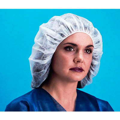 "Lightweight Polypropylene Bouffant Cap, 100% Latex Free, White, 24"", 100/Bag, 10 Bags/Case"