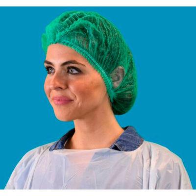 "Pleated Polypropylene Bouffant Cap, 100% Latex Free, Green, 21"", 100/Bag, 10 Bags/Case"