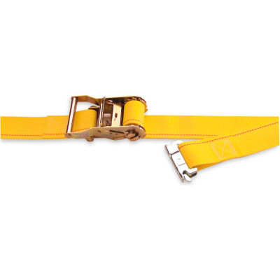"Kinedyne Cargo Control Ratchet Logistic Strap 641201 with Spring Loaded Fitting - 12' x 2"" Gold"