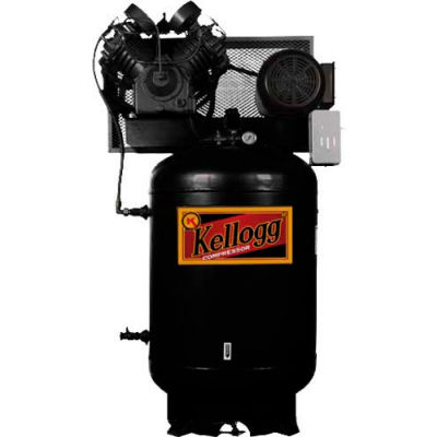 Kellogg-American L001119, 7.5 HP, Two-Stage, 120 Gal, Vertical, 175 PSI, 34.2 CFM, 1-Phase, 208-230