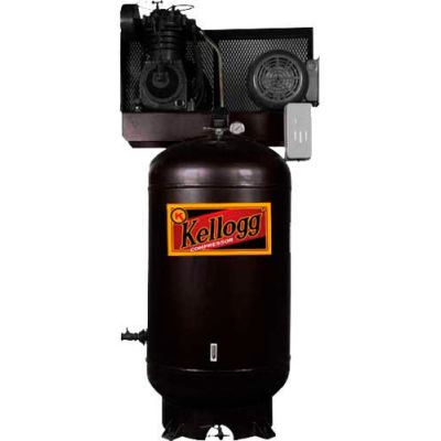 Kellogg-American L001153, 7.5 HP, Two-Stage, 80 Gal, Vert., 175 PSI, 27.5 CFM, 3-Phase, 208-230/460