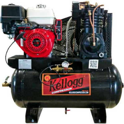 Kellogg-American HD30GK14E-335, 14HP, Stationary Gas Comp, 30 Gal, 175 PSI, 27.9 CFM, Kohler, Recoil