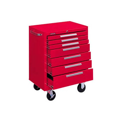 """Kennedy® 277XR K1800 Series 27""""W X 18""""D X 35""""H 7 Drawer Red Roller Cabinet"""