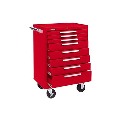 """Kennedy® 378XR K1800 Series 27""""W X 18""""D X 39""""H 8 Drawer Red Roller Cabinet"""