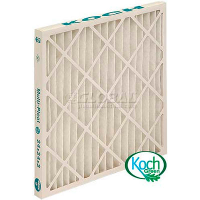 "Koch™ High Capacity Multi-Pleat Green Air Filter, MERV 13, Extended Surface, 20""Wx20""Hx2""D - Pkg Qty 12"