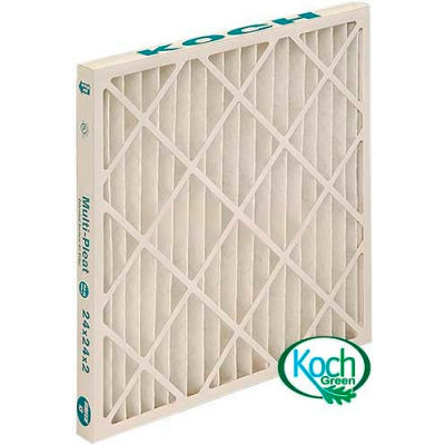 "Koch™ High Capacity Multi-Pleat Green Air Filter, MERV 13, Extended Surface, 12""Wx24""Hx4""D - Pkg Qty 6"