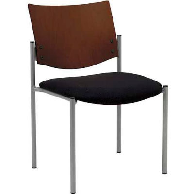 KFI Armless Guest Chair  -  Chocolate Wood Back, Black Fabric Seat