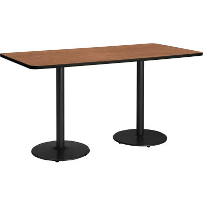 """KFI 72""""W x 36""""H Counter Height Pedestal Table - River Cherry Top -  Brown Edge - Round Black Base"""