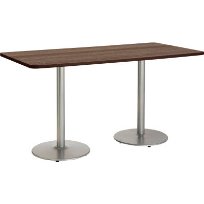"KFI 72""W x 36""H Counter Height Pedestal Table - Studio Teak Top - Brown Edge - Round Silver Base"