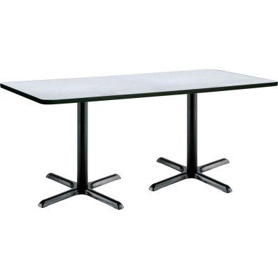 "KFI Rectangular Restaurant Table -  36"" x 72""  -  Gray Nebula Top Black X-Base"
