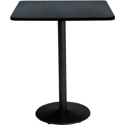 "KFI 36""W Square Bistro Table  -  Graphite Nebula Top, Round Black Base"