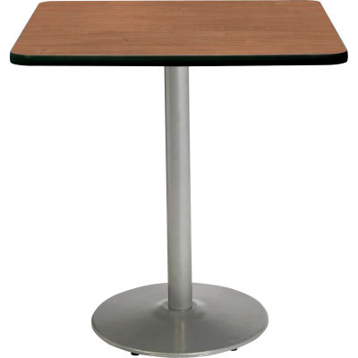 """KFI 36"""" x 36""""H Square Counter Height Pedestal Table - River Cherry Top - Round Silver Base"""
