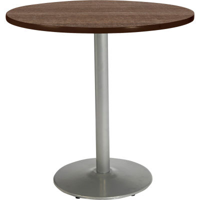 "KFI 42"" x 36""H Round Counter Height Pedestal Table - Studio Teak Top - Round Silver Base"