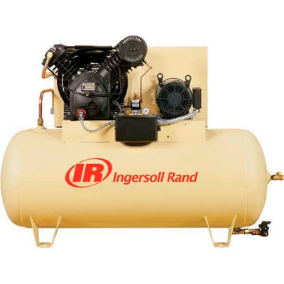 Ingersoll Rand 7100E15-P, 15HP, Two-Stage Compressor, 120 Gal, Horiz., 175 PSI, 50 CFM, 3-Phase 200V