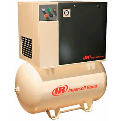 Ingersoll Rand UP6-5-150, 5 HP, Rotary Screw Comp, 120 Gal, Horiz., 150 PSI, 16 CFM, 3-Phase 460V