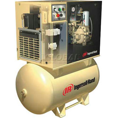 Ingersoll Rand UP6-5TAS-125, 5 HP, Rotary Screw Comp, 120 Gal, Horiz., 125 PSI, 18.5 CFM, 3PH 230V