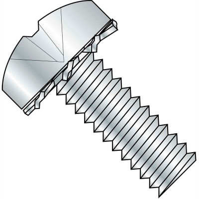 4-40X1/4  Phillips Pan External Sems Machine Screw Fully Threaded Zinc Bake, Pkg of 10000