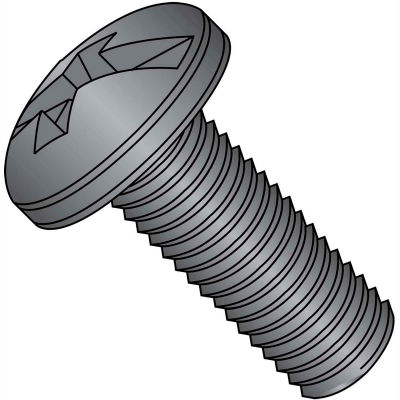 6-32X3/8  Combination Pan Head Machine Screw Fully Threaded Black Oxide, Pkg of 10000