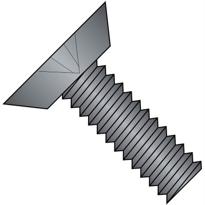 6-32X1/2  Phillips Flat Undercut Machine Screw Fully Threaded Black Zinc, Pkg of 10000