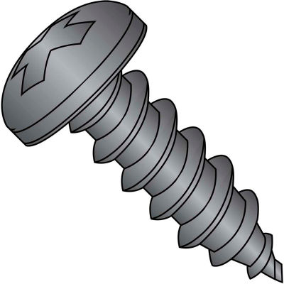 #6 x 5/8 Phillips Pan Self Tapping Screw Type A Fully Threaded Black Oxide - Pkg of 10000