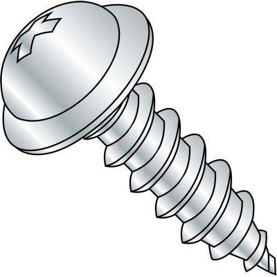 #6 x 3/4 Phillips Round Washer Self Tapping Screw Type AB Fully Threaded Zinc Bake - Pkg of 10000