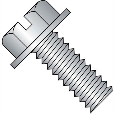 8-32X3/8  Slotted Indented Hex Washer Head Machine Screw Full Thrd 18 8 Stainless Ste, Pkg of 5000