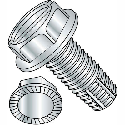 8-32X1/2  Slotted Indented Hex Washer Thread Cutting Screw Type F Serrated Full Thrd, Pkg of 10000