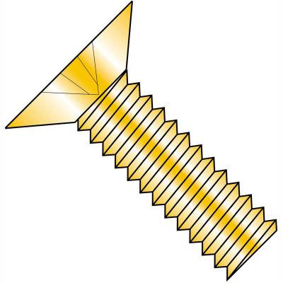 8-32 x 1/2 Phillips Flat Machine Screw - Fully Threaded - Zinc Yellow - Pkg of 10000