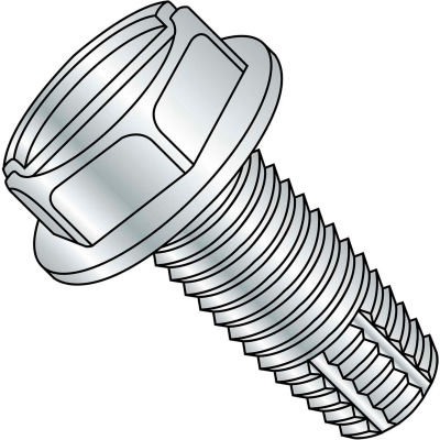 8-32 x 3/4 Slotted Indented Hex Washer Thread Cutting Screw - Full Thread - Zinc - Pkg of 8000