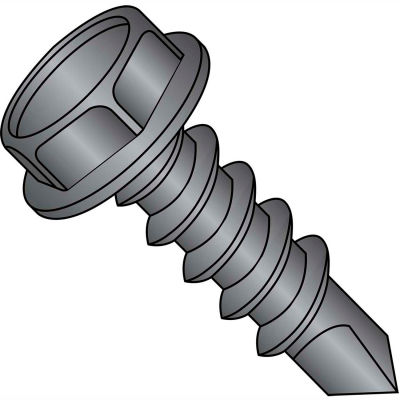 #8 x 3/4 Unslotted Indented Hex Washer Self Drilling Screw Full Thread Black Zinc Bake - Pkg of 8000