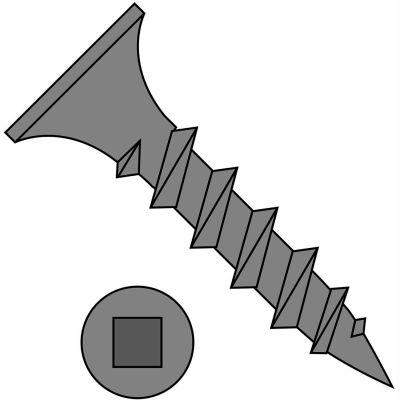 #8 x 1 Square Recess Drive Bugle Head Coarse Thread Drywall Screw Black Phosphate - Pkg of 2000