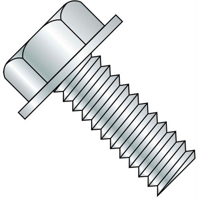 8-32 x 1-1/2 Unslotted Indented Hex Washer Machine Screw - Fully Threaded - Zinc - Pkg of 3000