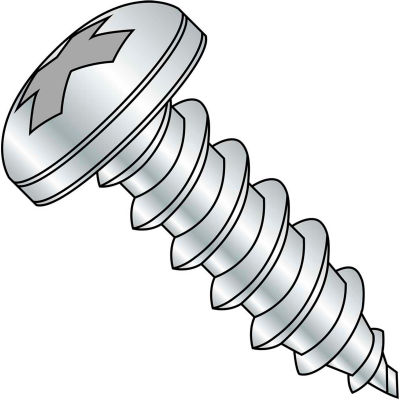 #10 x 1-1/2 Phillips Pan Self Tapping Screw Type AB Fully Threaded Zinc Bake - Pkg of 3000