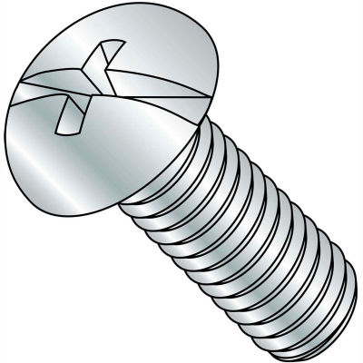 10-24X1 1/2  Combination (Phil/Slot) Round Head Fully Threaded Machine Screw Zinc, Pkg of 2000