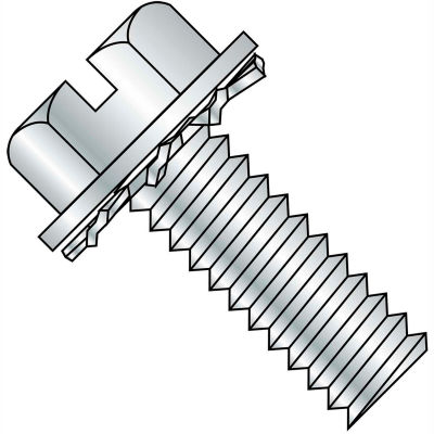 10-32X1/2  Slotted Hex Washer External Sems Machine Screw Fully Threaded Zinc Bake, Pkg of 5000