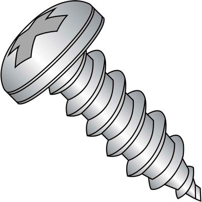 #12 x 3/4 Phillips Pan Self Tapping Screw Type A Fully Threaded 18-8 Stainless Steel - Pkg of 2000