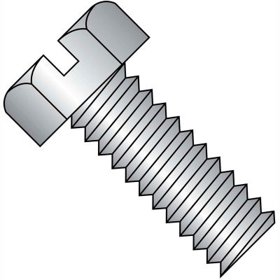 1/4-20X1/2  Slotted Indented Hex Head Machine Screw Full Thrd 18 8 Stainless Steel, Pkg of 1000