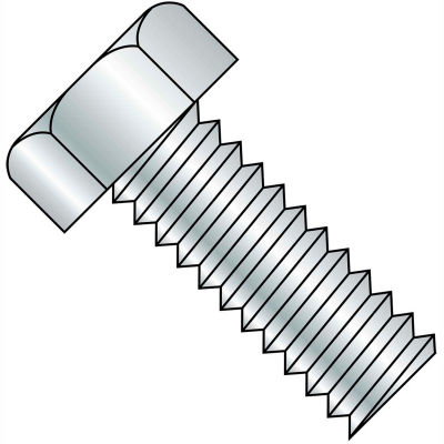 1/4-20 x 7/8 Unslotted Indented Hex Head Machine Screw - Fully Threaded - Zinc - Pkg of 2500