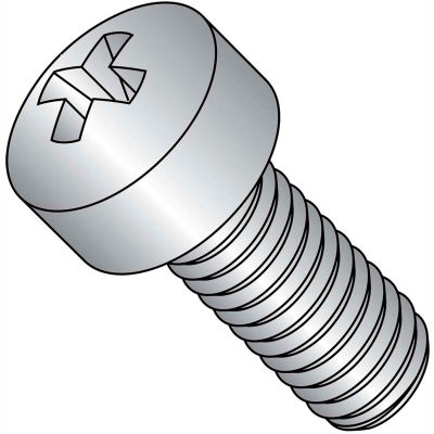 1/4-28X1/2  Phillips Fillister Machine Screw Fully Threaded 18 8 Stainless Steel, Pkg of 1500