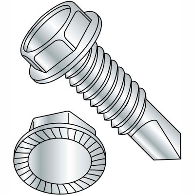"""5/16-18 x 1-1/2"""" Self Drilling Screw - Unslotted - Indented Hex Washer - FT - Zinc - Pkg of 600"""
