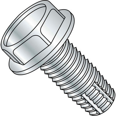 3/8-16X3  Unslotted Indented Hex Washer Thread Cutting Screw Type F Full Thrd Zinc, Pkg of 300