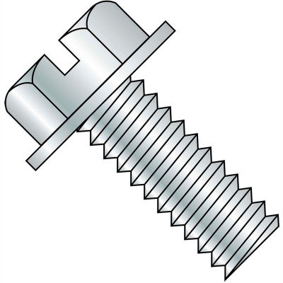 3/8-16X4  Slotted Indented Hex Washer Head Machine Screw Fully Threaded Zinc, Pkg of 200