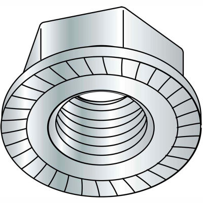 5/8-18  Serrated Flange Hex Lock Nuts Case Hardened HR15N 78/90 Zinc Bake, Pkg of 150