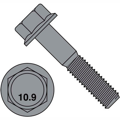 M6-1.0X20  DIN 6921 Class 10 Point 9 Metric Flange Bolt Screw  Black Phosphate, Pkg of 1000