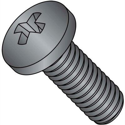 10-32 x 1-1/4 Phillips Pan Machine Screw - Fine - Full Thread - S/S - Black Ox - Pkg of 1000
