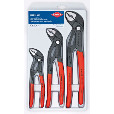 KNIPEX 00 20 06 US1 Cobra® 3 Piece V-Jaw Push Button Adjustment Tongue & Groove Plier Set