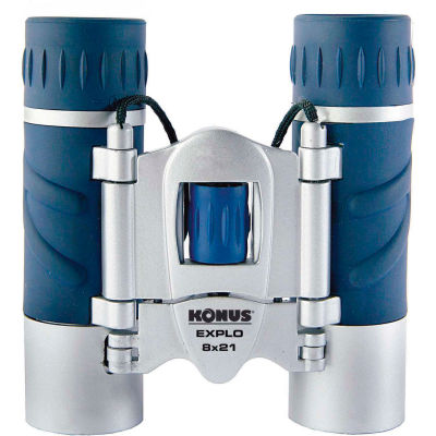 Konus 2023 Explo 8x21mm Binoculars, Central Focus, Ruby Coating, Blue/Silver