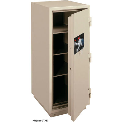 FireKing 2 Hr Fire Resistant Safe KR5021-2TAE 25-1/2 x 28-7/8 x 60-1/2 Electronic & Key Lock Taupe